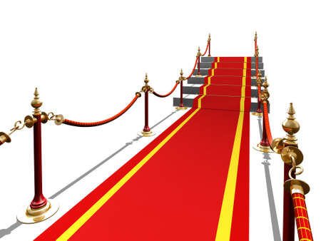 3d render of red carpet to stair success photo