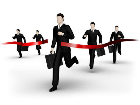 contestant: on 3d image render group of the businessman runs to finish Stock Photo