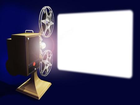 Render-Projektor von Film auf der Leinwand