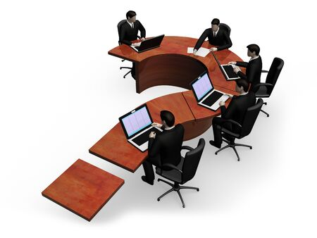 exclamatory: The group of businessmans works behind a table in the form of the exclamatory sign