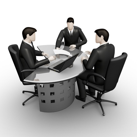 thee: On 3d image render thee businessmans consultation of table Stock Photo