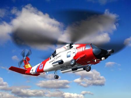 Render helikoptera straży przybrzeżnej Jayhawk leci w chmurach