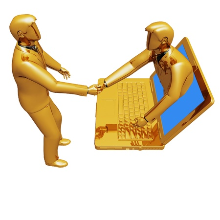 technology deal: On 3d images online connection people Stock Photo