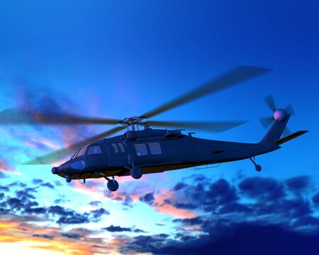armed services: Render of Helicopter flying from sun