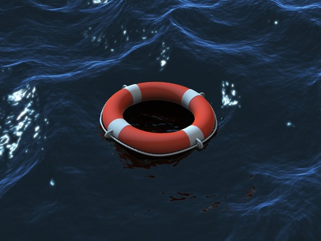 Render of lifebuoy swimming in waves photo