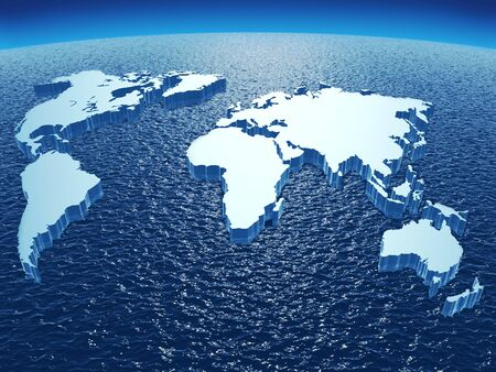 world economy: Abstract 3d picture representing continents of the Earth  lying on ocean sphere   Stock Photo