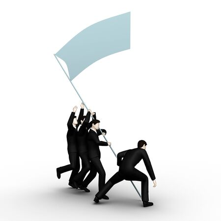 On the image group of businessmans have lifted the victorious  flag of command work   photo