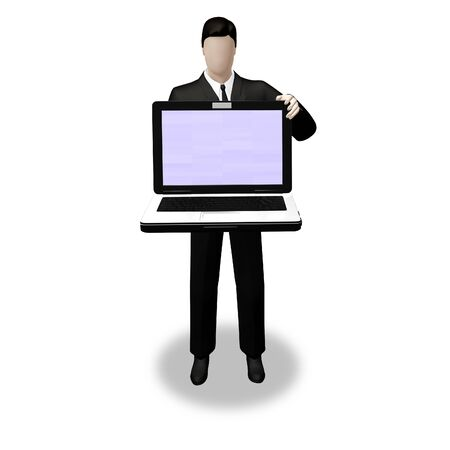 On 3d images businessman holding laptop with empty screen for message photo