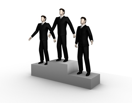 On the image three winners businessman stand on a podium photo