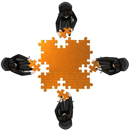 share market: 3d business team work building a puzzle isolated over a white background Stock Photo