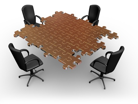 empty chair: Render of empty chairs standing round a table  from puzzle Stock Photo