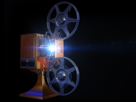 Render of projector film  on a black background photo
