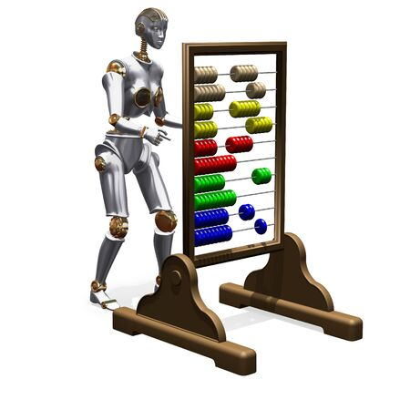 carrying out: Abstract render of android carrying out calculations on abacus
