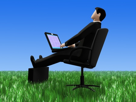 In 3d picture the businessman working on the laptop is represented  sitting in the field in a grass photo