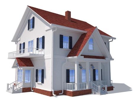 Übertragen von der Außen Hause isoliert auf weiß