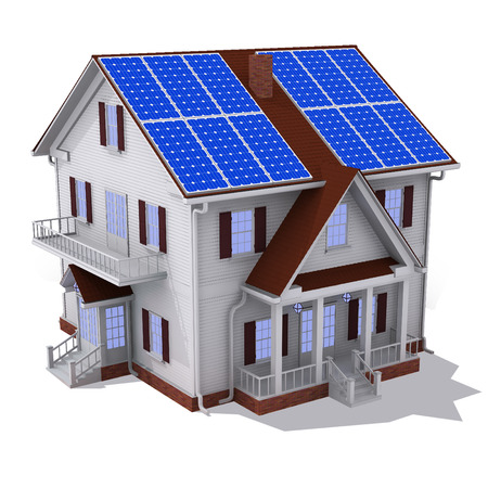 resourceful: Render of solar panel on roof house isolated