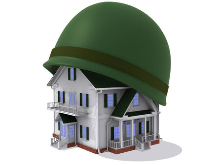 housing problems: Render of house in helmet Stock Photo