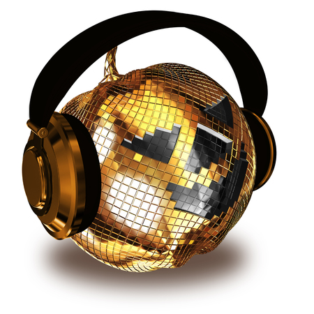3d rendering of pumpkin shaped disco ball with headphones isolated