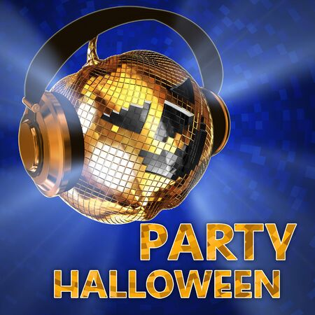 music 3d: 3d rendering of pumpkin shaped disco  ball with headphones.Party