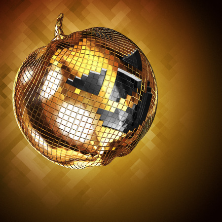 3d render of Halloween disco ball on golden