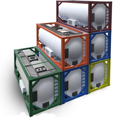 3d illustration of group tanks container isolated.