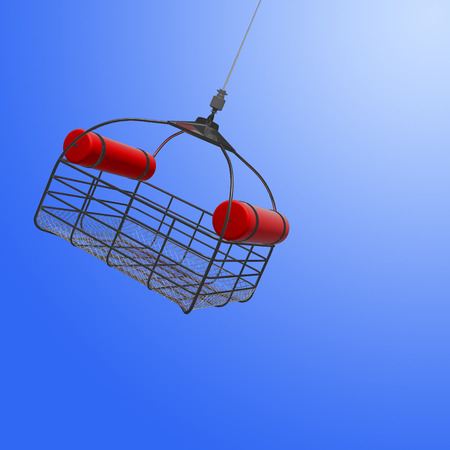 3d illustration of lowering a rescue basket from helicopter in sky. Stok Fotoğraf