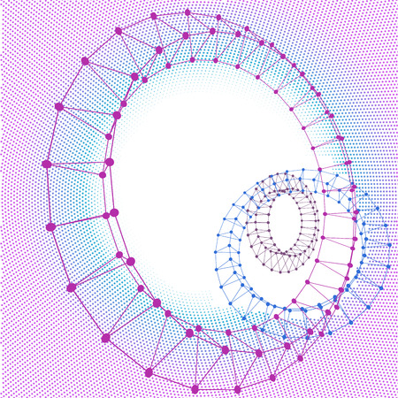 Abstract three torus dotted lines connected to graphics. Illustration