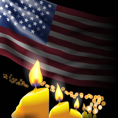 Memorial day. Flag and lighted candles Illustration