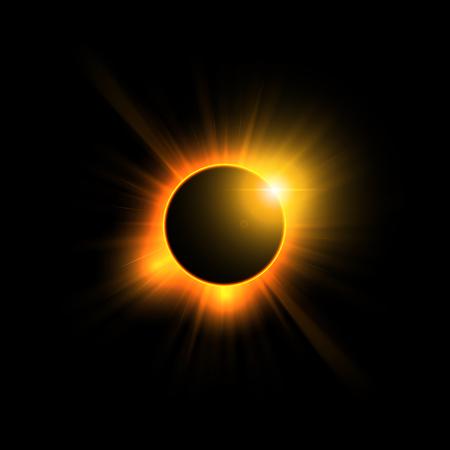 Sun eclipse on black background, vector illustration.