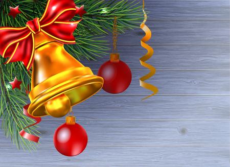 Hintergrund von den Weihnachtsbällen hängen einen Niederlassungsbaum auf Holz. Standard-Bild - 89696302