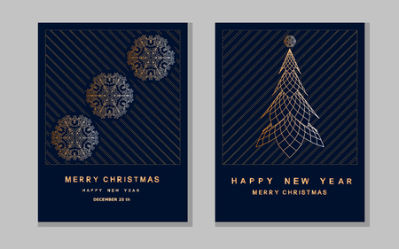 New Year greeting card with abstract christmas tree and snowflakes.