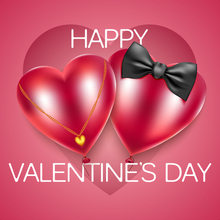 Abstract ballons symbols of mens and womens hearts. Vector illustration. Illustration