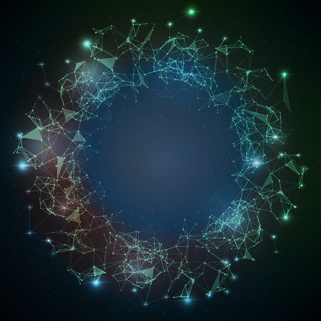 Abstract vector illuminated stars particles and lines.