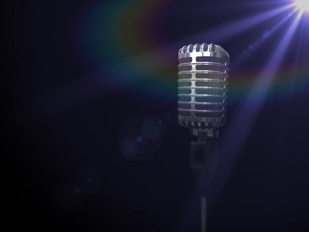 Vintage silver microphone in spotlight on black . 3D render illustration.
