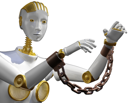 3d rendering robot with shackle  isolated on white.