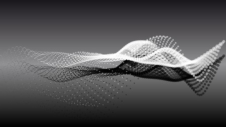 Abstract particle noise wave points with depth of field. Futuristic digital illustration. Technology points waveform.