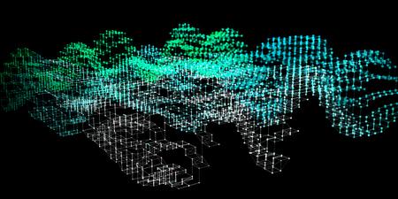 Fond de couleur d'infographie d'analyse abstraite. Algorithmes d'analyse de diagramme 3D. Big Data. Illustration vectorielle.