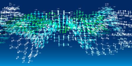 Algoritmos de análisis de diagramas 3D. Big data. Fondo de infografías de análisis abstracto. Ilustración de vector.