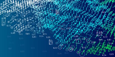 Algoritmos de análisis de diagramas 3D. Fondo de infografías de análisis abstracto. Big data. Ilustración de vector. Ilustración de vector