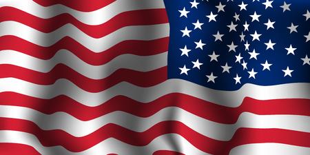 Onda della bandiera americana. Illustrazione vettoriale.