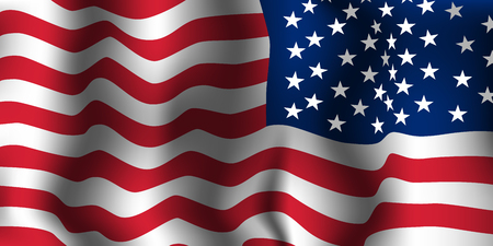 Vague de drapeau américain. Illustration vectorielle.