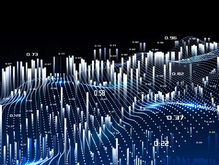 Fondo de infografías de análisis abstracto. Datos de minería espacial temporal. Big data. Ilustración de vector. Foto de archivo
