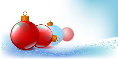 New Year background with Christmas balls in snow. Vector illustration.