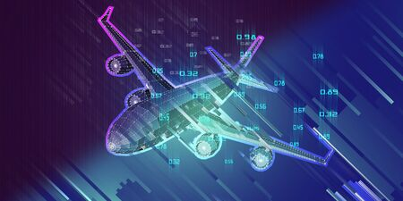Abstract polygonal plane on gradient  background. Outline wireframe analytical concept. Travel, tourism, transport. Aircraft 3d illustration with data.  Zdjęcie Seryjne