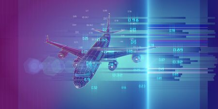 Abstract airplane on gradient  background. Outline wireframe analytical concept. Travel, tourism, transport. Aircraft 3d illustration with data.  Zdjęcie Seryjne
