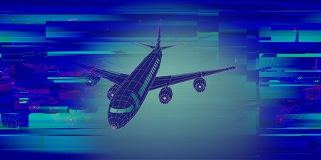 Abstract airplane constructed from lines and glitch. Outline wireframe analytical concept. Travel, tourism, transport. Aircraft 3d illustration.  Zdjęcie Seryjne