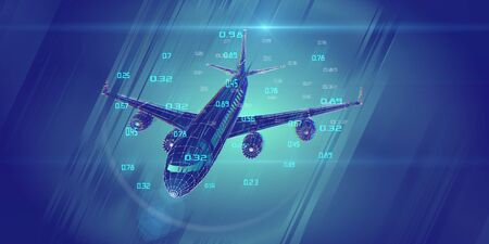 Abstract airplane constructed from lines. Outline wireframe analytical concept. Travel, tourism, transport. Aircraft 3d illustration with data.