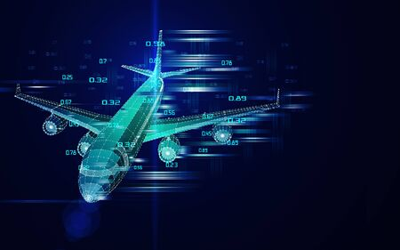 Abstract airplane constructed from lines. Outline wireframe analytical concept. Travel, tourism, transport. Aircraft 3d illustration.