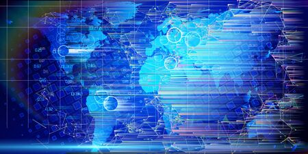 Global Internet communication concept. Technology world map. Abstract global network background. Digital map lines concept of global business.
