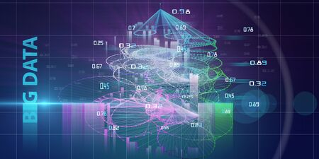 Bid data research visualization. Abstract technology concept for business presentation. Radial algorithm depth research of data volume. Big Data.